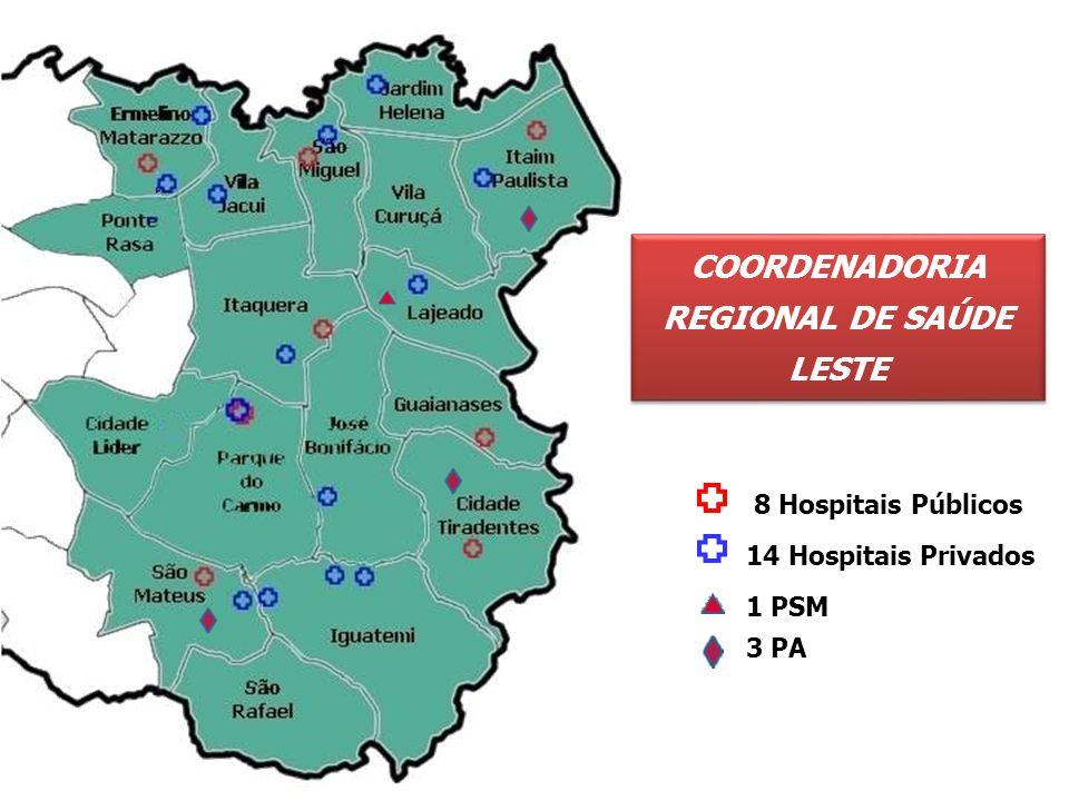 Supervisão Cidade Tiradentes Ermelino Matarazzo Guaianases Itaim Paulista Itaquera São Mateus São Miguel CRS LESTE Hospital H.M.