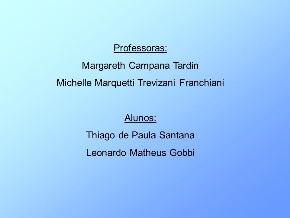 Professoras: Margareth Campana Tardin Michelle Marquetti Trevizani Franchiani Alunos: Thiago de Paula Santana Leonardo Matheus Gobbi