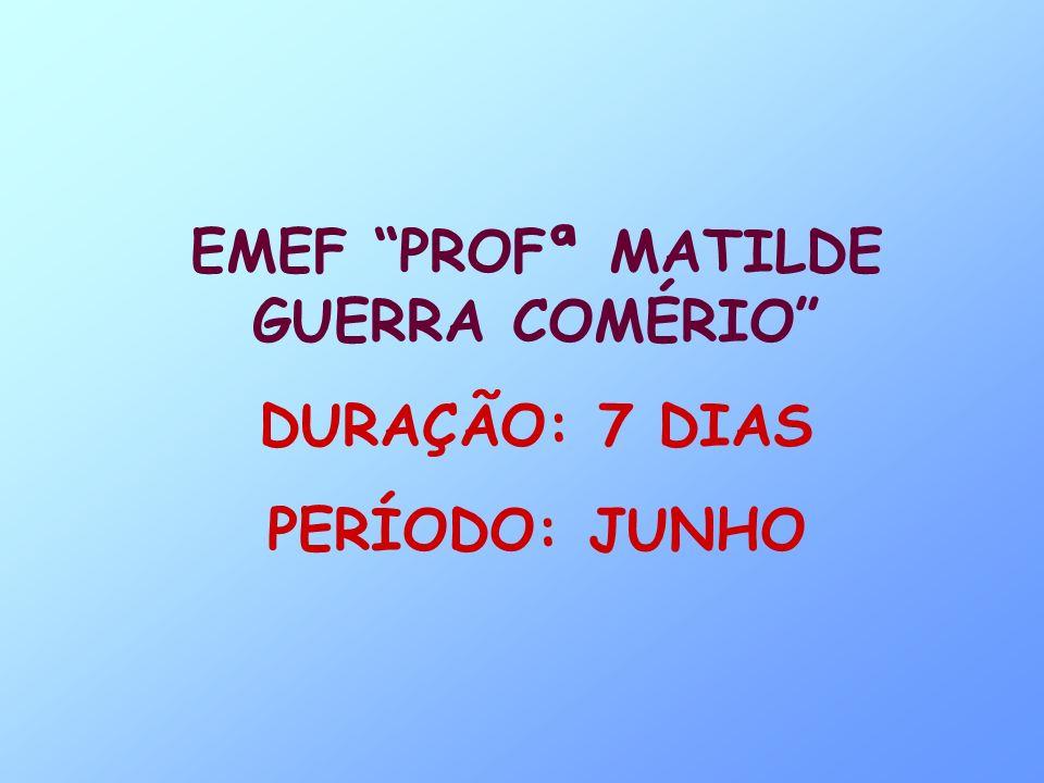 EMEF PROFª MATILDE GUERRA COMÉRIO DURAÇÃO: 7 DIAS PERÍODO: JUNHO