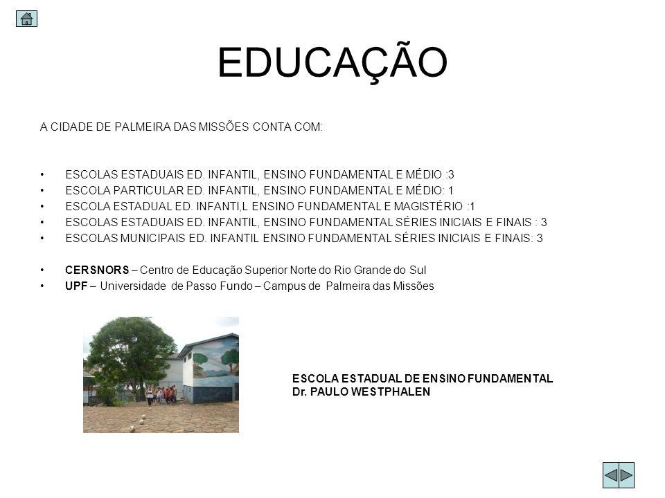 EDUCAÇÃO A CIDADE DE PALMEIRA DAS MISSÕES CONTA COM: ESCOLAS ESTADUAIS ED. INFANTIL, ENSINO FUNDAMENTAL E MÉDIO :3 ESCOLA PARTICULAR ED. INFANTIL, ENS