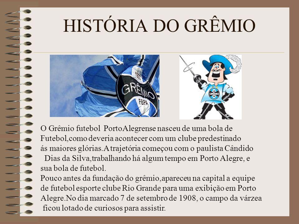 HISTÓRIA DO GRÊMIO O Grêmio futebol PortoAlegrense nasceu de uma bola de Futebol,como deveria acontecer com um clube predestinado ás maiores glórias.A