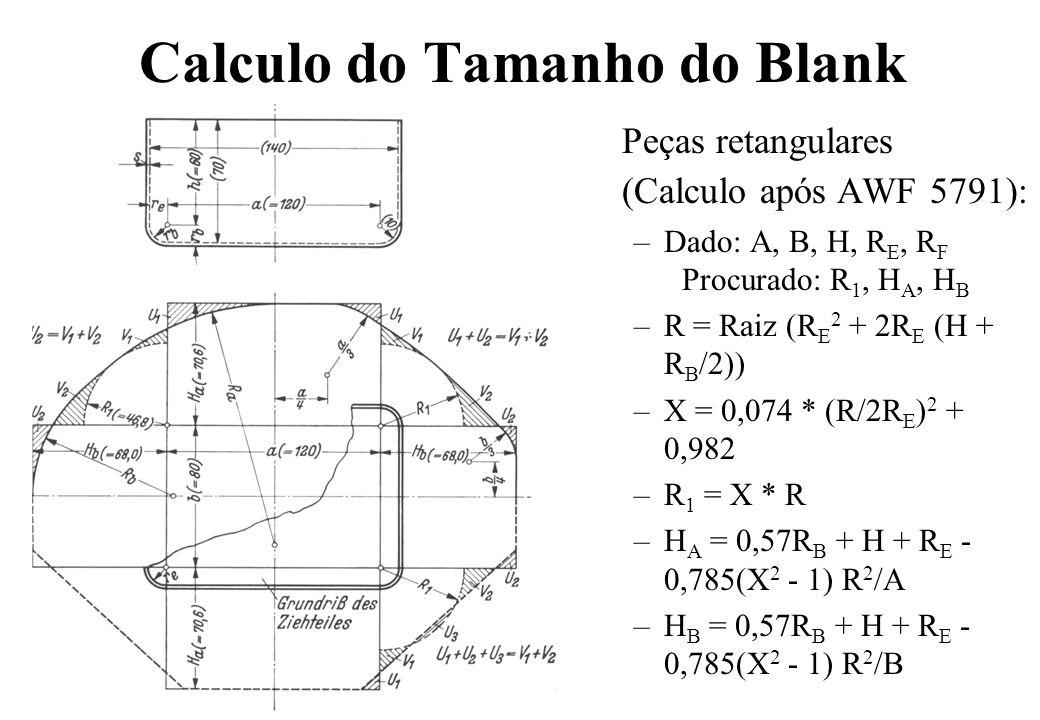 Peças retangulares (Calculo após AWF 5791): –Dado: A, B, H, R E, R F Procurado: R 1, H A, H B –R = Raiz (R E 2 + 2R E (H + R B /2)) –X = 0,074 * (R/2R