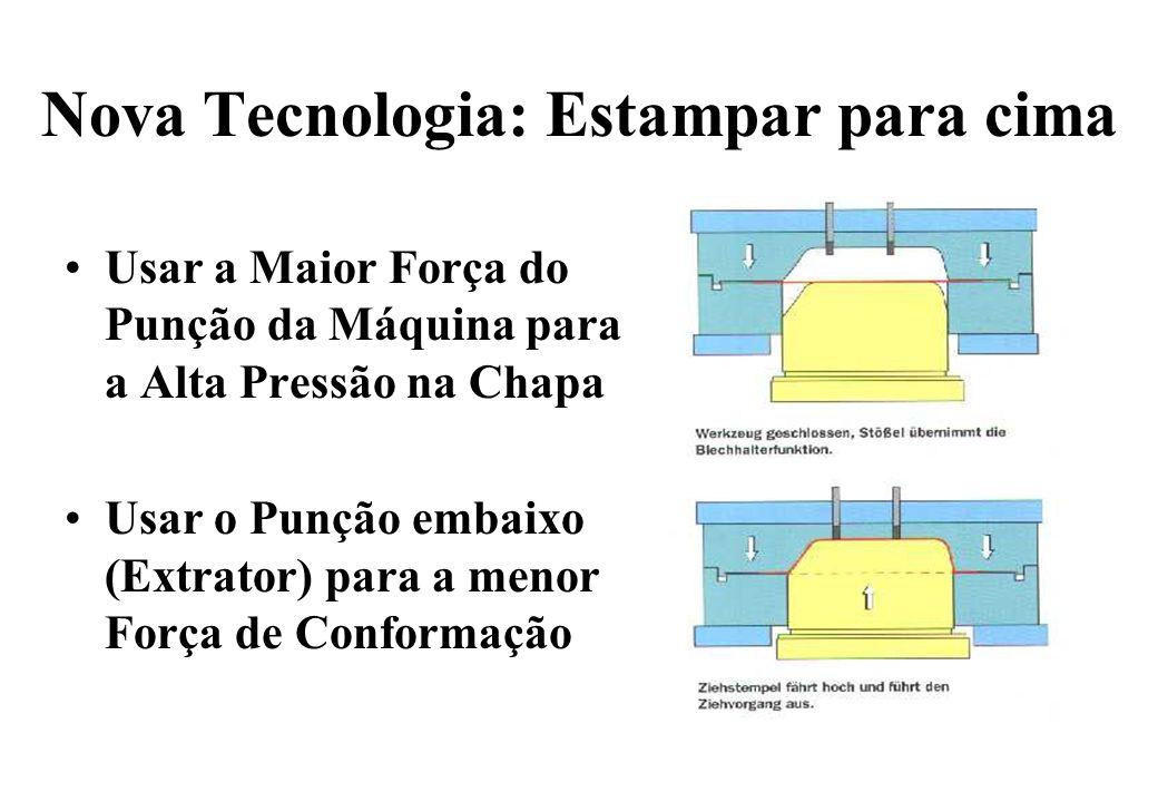 Nova Tecnologia: Estampar para cima Usar a Maior Força do Punção da Máquina para a Alta Pressão na Chapa Usar o Punção embaixo (Extrator) para a menor