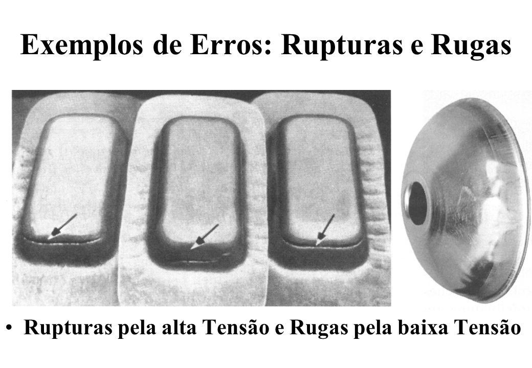 Exemplos de Erros: Rupturas e Rugas Rupturas pela alta Tensão e Rugas pela baixa Tensão