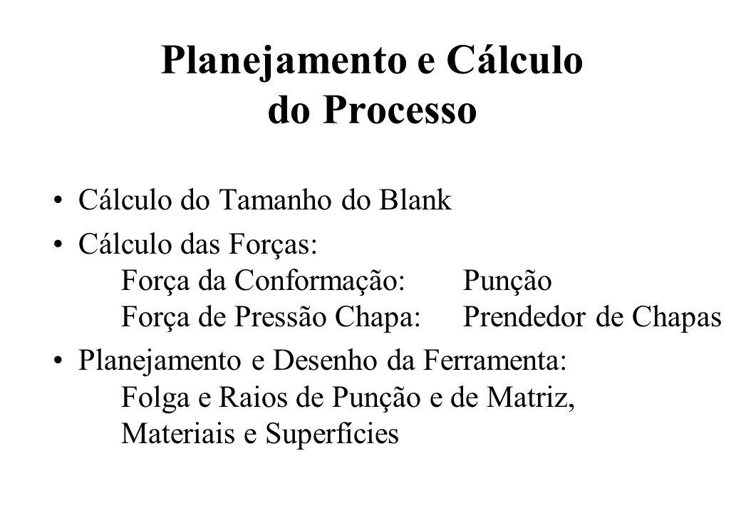 Planejamento e Cálculo do Processo Cálculo do Tamanho do Blank Cálculo das Forças: Força da Conformação: Punção Força de Pressão Chapa: Prendedor de C