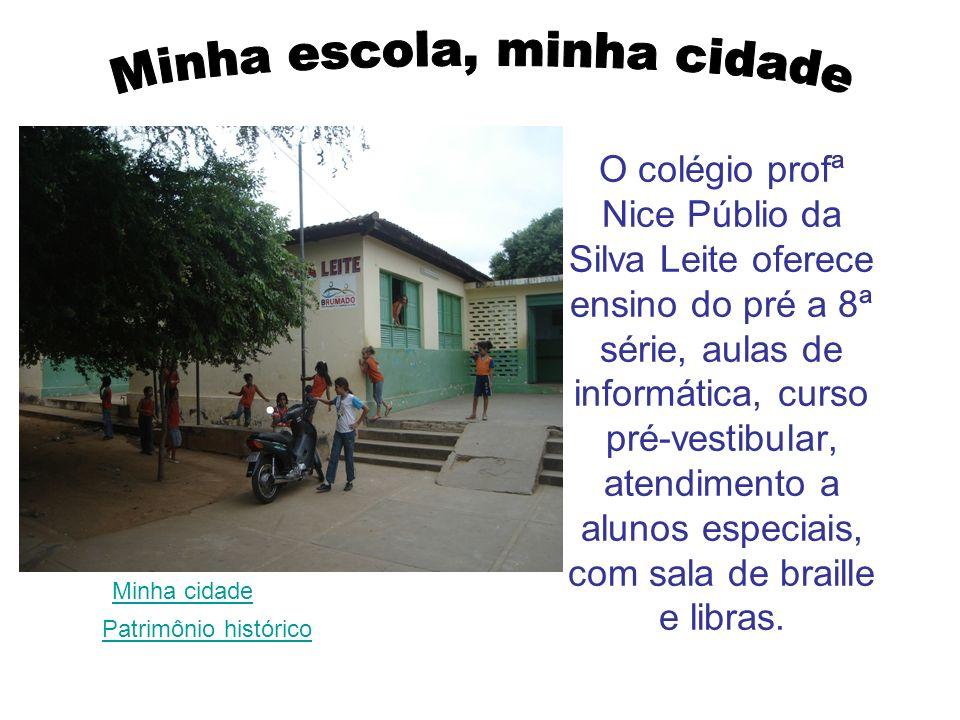 O colégio profª Nice Públio da Silva Leite oferece ensino do pré a 8ª série, aulas de informática, curso pré-vestibular, atendimento a alunos especiai