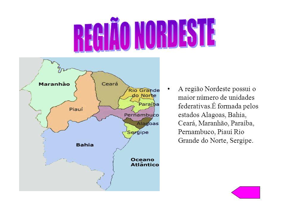 A região Nordeste possui o maior número de unidades federativas.É formada pelos estados Alagoas, Bahia, Ceará, Maranhão, Paraíba, Pernambuco, Piauí Ri