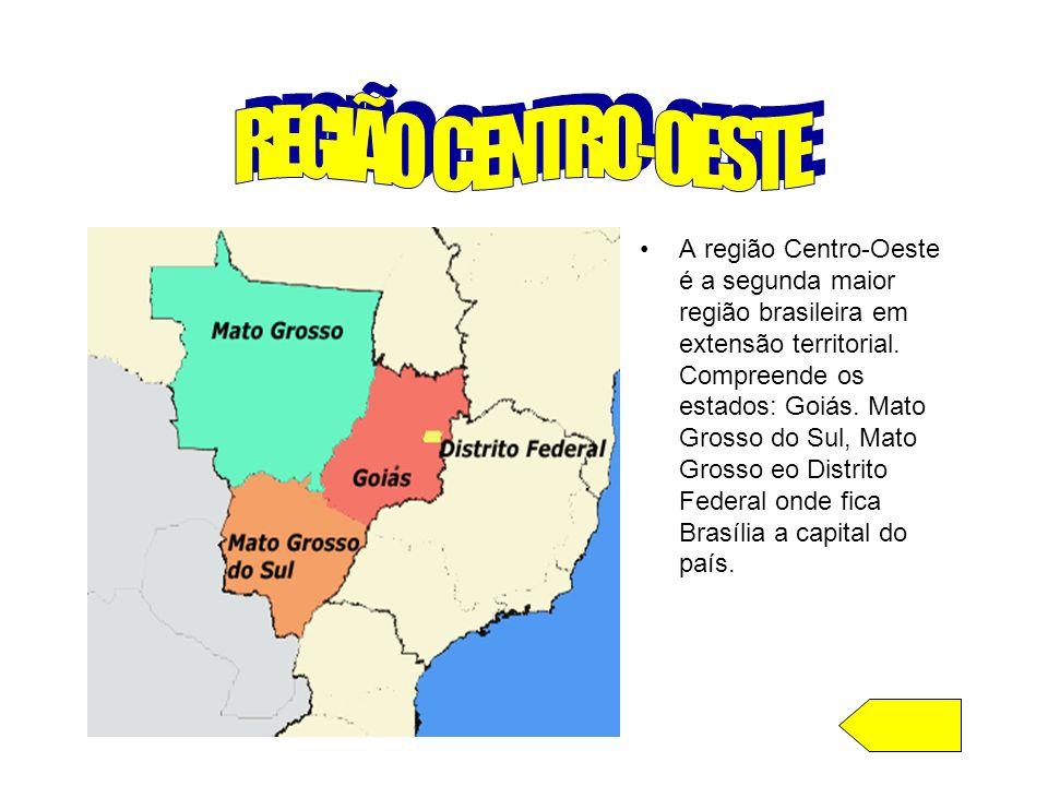 A região Centro-Oeste é a segunda maior região brasileira em extensão territorial. Compreende os estados: Goiás. Mato Grosso do Sul, Mato Grosso eo Di