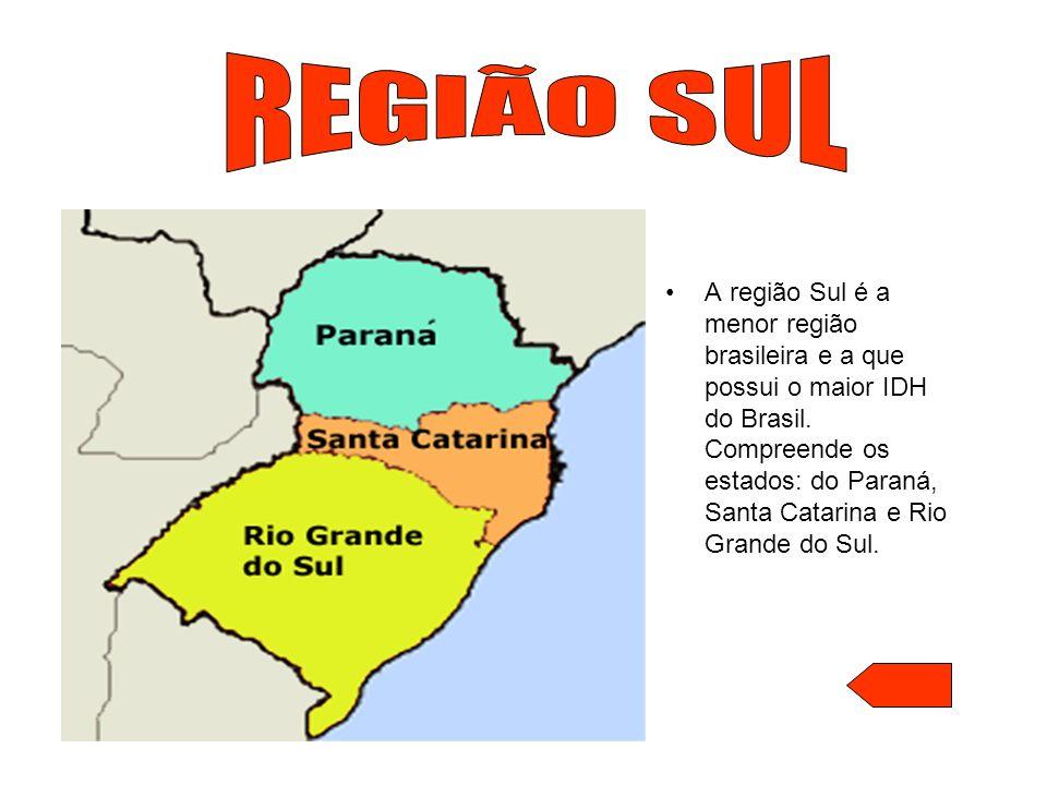 A região Sul é a menor região brasileira e a que possui o maior IDH do Brasil. Compreende os estados: do Paraná, Santa Catarina e Rio Grande do Sul.