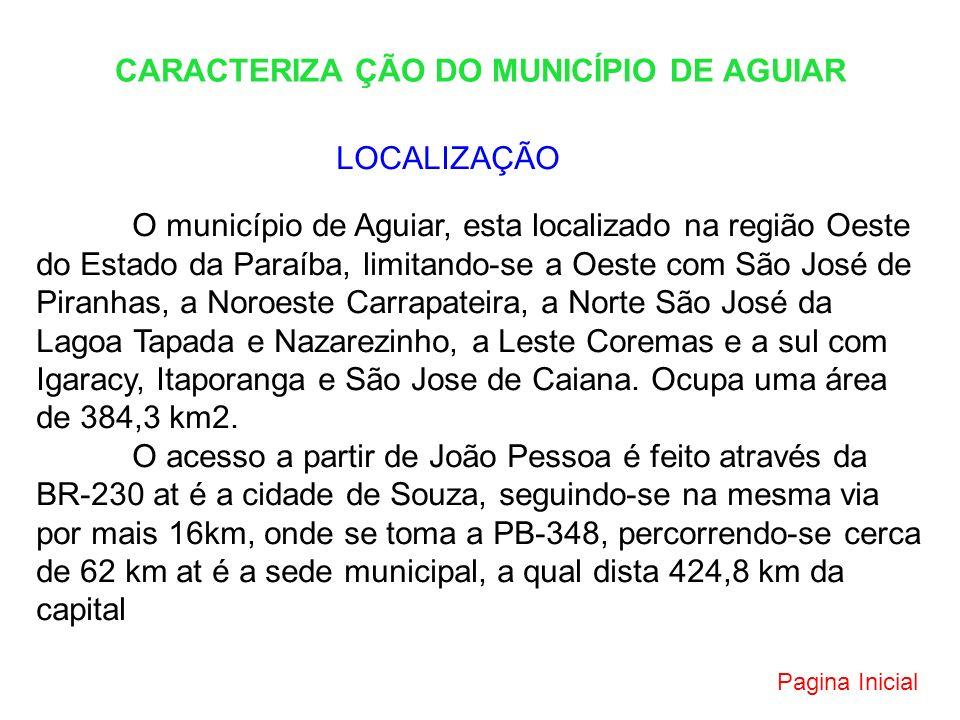 CARACTERIZA ÇÃO DO MUNICÍPIO DE AGUIAR LOCALIZAÇÃO O município de Aguiar, esta localizado na região Oeste do Estado da Paraíba, limitando-se a Oeste c