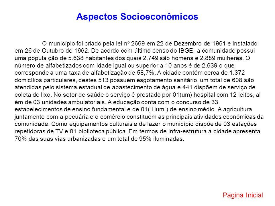 Aspectos Socioeconômicos O município foi criado pela lei nº 2669 em 22 de Dezembro de 1961 e instalado em 26 de Outubro de 1962. De acordo com último