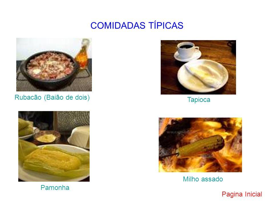 COMIDADAS TÍPICAS Rubacão (Baião de dois) Tapioca Pamonha Milho assado Pagina Inicial