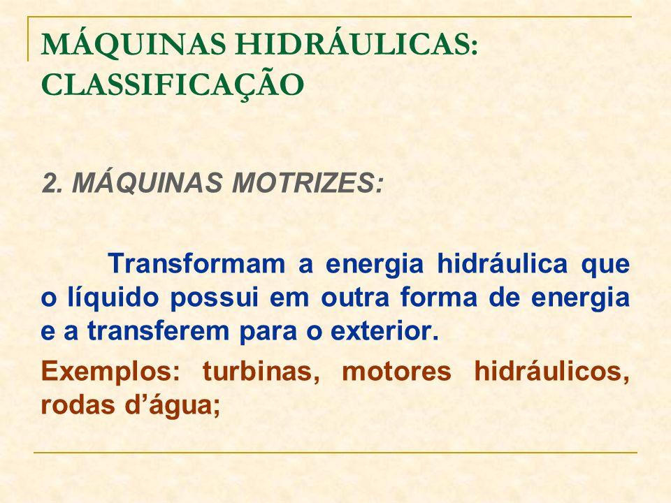 2. MÁQUINAS MOTRIZES: Transformam a energia hidráulica que o líquido possui em outra forma de energia e a transferem para o exterior. Exemplos: turbin