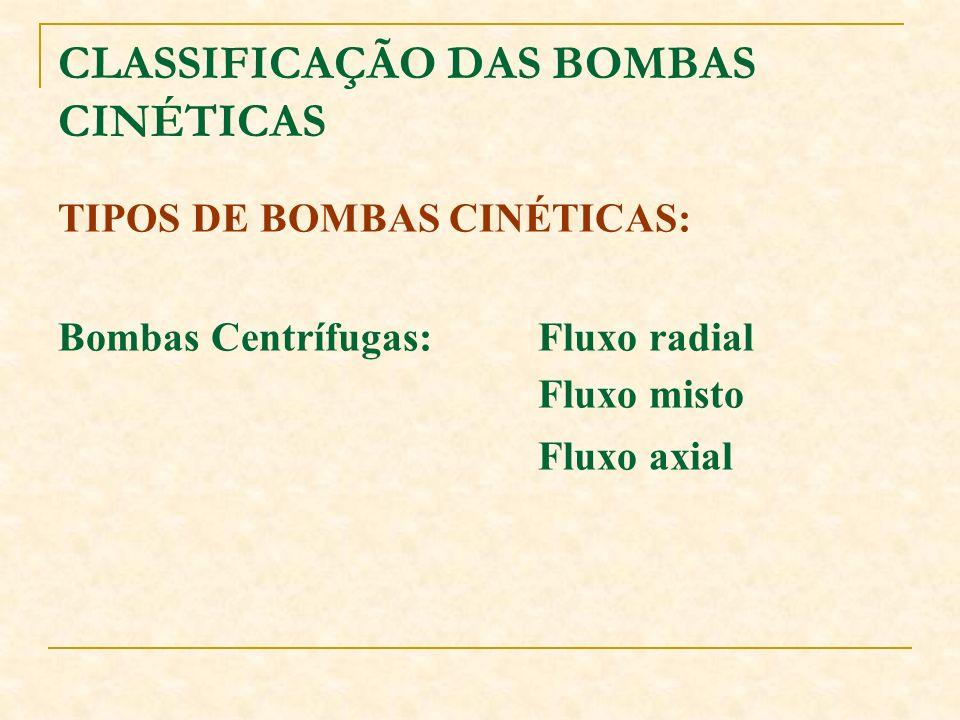 CLASSIFICAÇÃO DAS BOMBAS CINÉTICAS TIPOS DE BOMBAS CINÉTICAS: Bombas Centrífugas:Fluxo radial Fluxo misto Fluxo axial