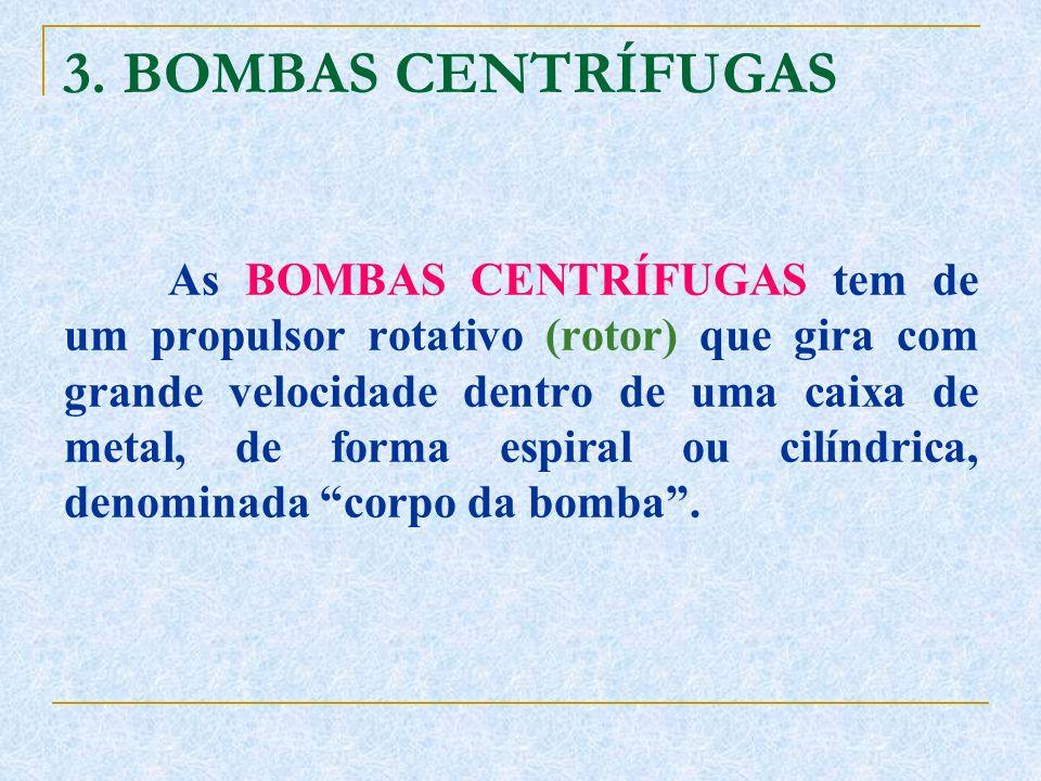 3. BOMBAS CENTRÍFUGAS As BOMBAS CENTRÍFUGAS tem de um propulsor rotativo (rotor) que gira com grande velocidade dentro de uma caixa de metal, de forma