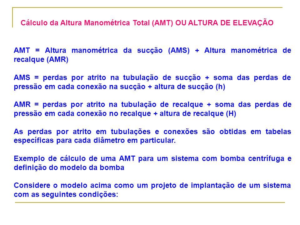 AMT = Altura manométrica da sucção (AMS) + Altura manométrica de recalque (AMR) AMS = perdas por atrito na tubulação de sucção + soma das perdas de pr