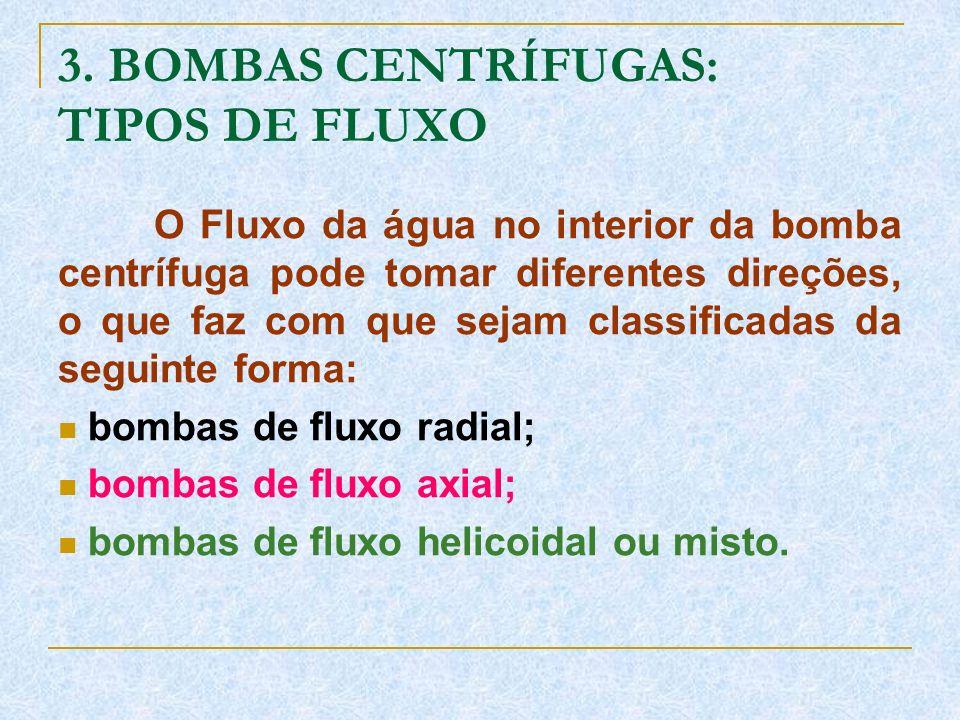 3. BOMBAS CENTRÍFUGAS: TIPOS DE FLUXO O Fluxo da água no interior da bomba centrífuga pode tomar diferentes direções, o que faz com que sejam classifi