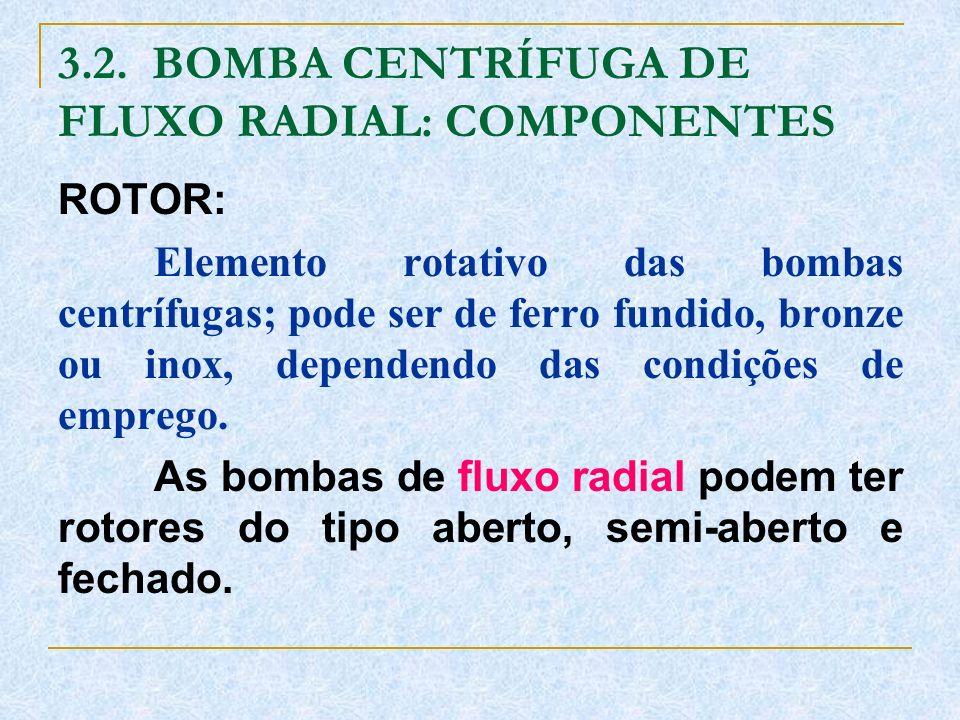 3.2. BOMBA CENTRÍFUGA DE FLUXO RADIAL: COMPONENTES ROTOR: Elemento rotativo das bombas centrífugas; pode ser de ferro fundido, bronze ou inox, depende