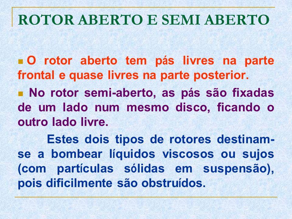 ROTOR ABERTO E SEMI ABERTO O rotor aberto tem p á s livres na parte frontal e quase livres na parte posterior. No rotor semi-aberto, as p á s são fixa