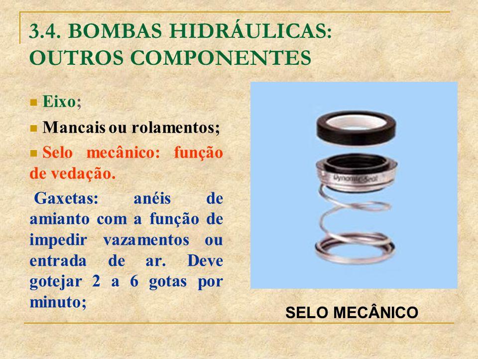 3.4. BOMBAS HIDRÁULICAS: OUTROS COMPONENTES Eixo; Mancais ou rolamentos; Selo mecânico: função de vedação. Gaxetas: anéis de amianto com a função de i