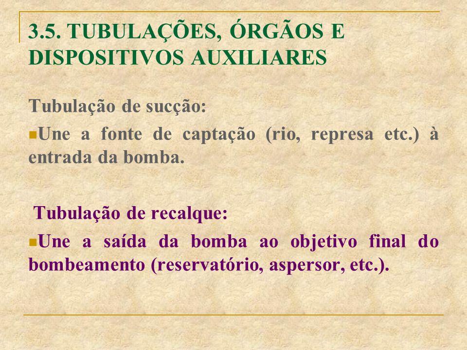 Tubulação de sucção: Une a fonte de captação (rio, represa etc.) à entrada da bomba. Tubulação de recalque: Une a saída da bomba ao objetivo final do