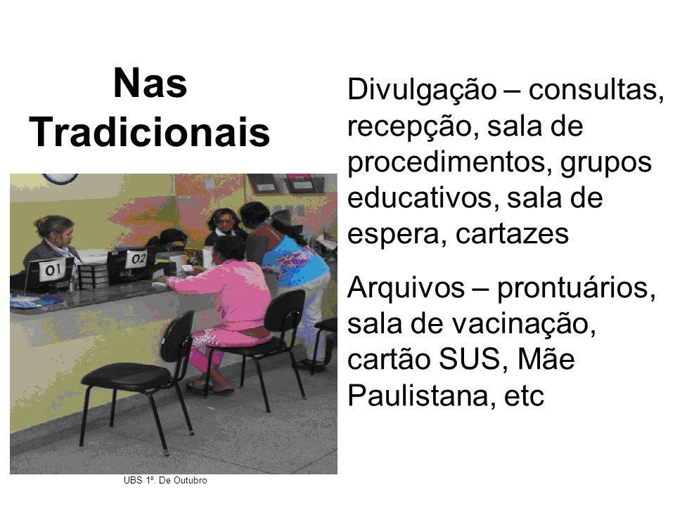 Nas Tradicionais Divulgação – consultas, recepção, sala de procedimentos, grupos educativos, sala de espera, cartazes Arquivos – prontuários, sala de