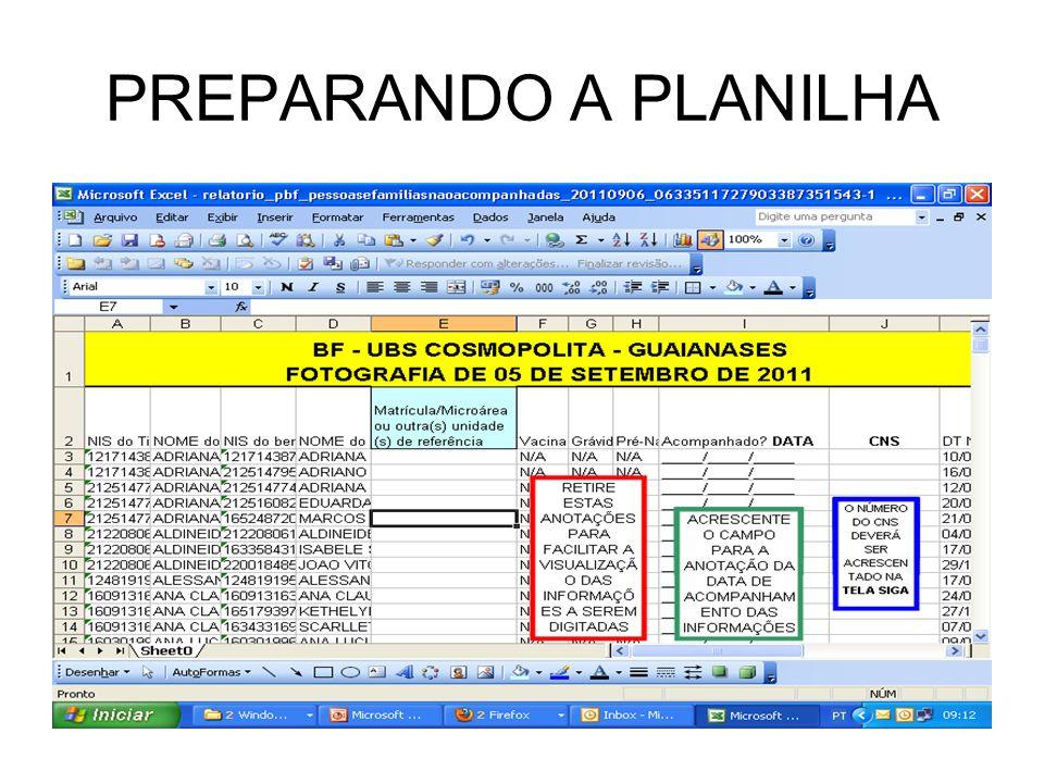 PREPARANDO A PLANILHA