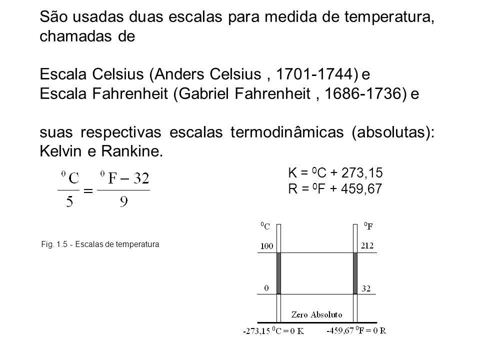 São usadas duas escalas para medida de temperatura, chamadas de Escala Celsius (Anders Celsius, 1701-1744) e Escala Fahrenheit (Gabriel Fahrenheit, 16