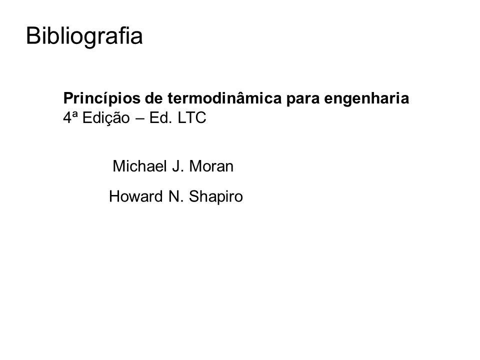Bibliografia Princípios de termodinâmica para engenharia 4ª Edição – Ed. LTC Michael J. Moran Howard N. Shapiro