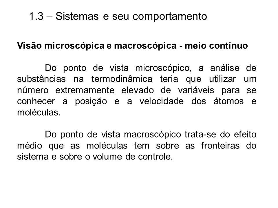 1.3 – Sistemas e seu comportamento Visão microscópica e macroscópica - meio contínuo Do ponto de vista microscópico, a análise de substâncias na termo
