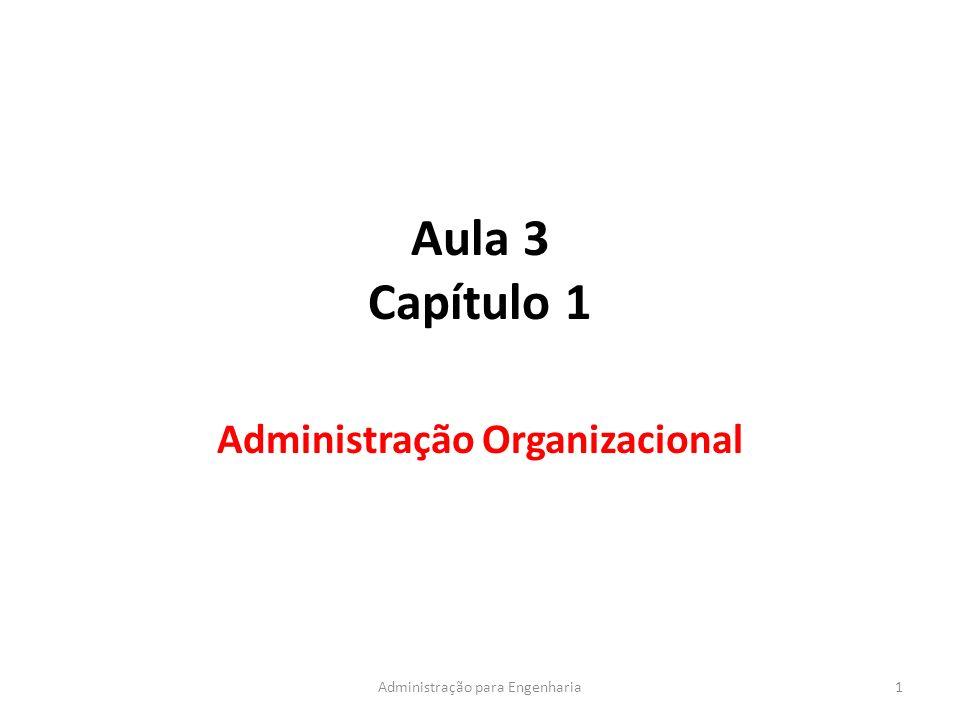 Aula 3 Capítulo 1 Administração Organizacional 1Administração para Engenharia
