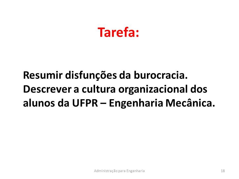 Tarefa: 18Administração para Engenharia Resumir disfunções da burocracia. Descrever a cultura organizacional dos alunos da UFPR – Engenharia Mecânica.