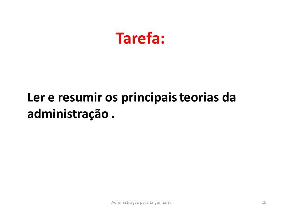 Tarefa: 26Administração para Engenharia Ler e resumir os principais teorias da administração.
