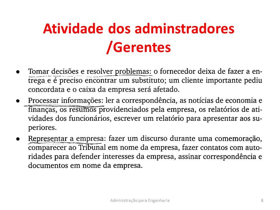 Atividade dos adminstradores /Gerentes 8Administração para Engenharia