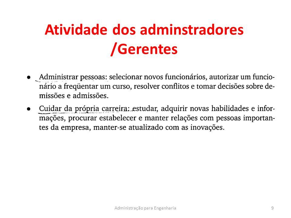 Atividade dos adminstradores /Gerentes 9Administração para Engenharia