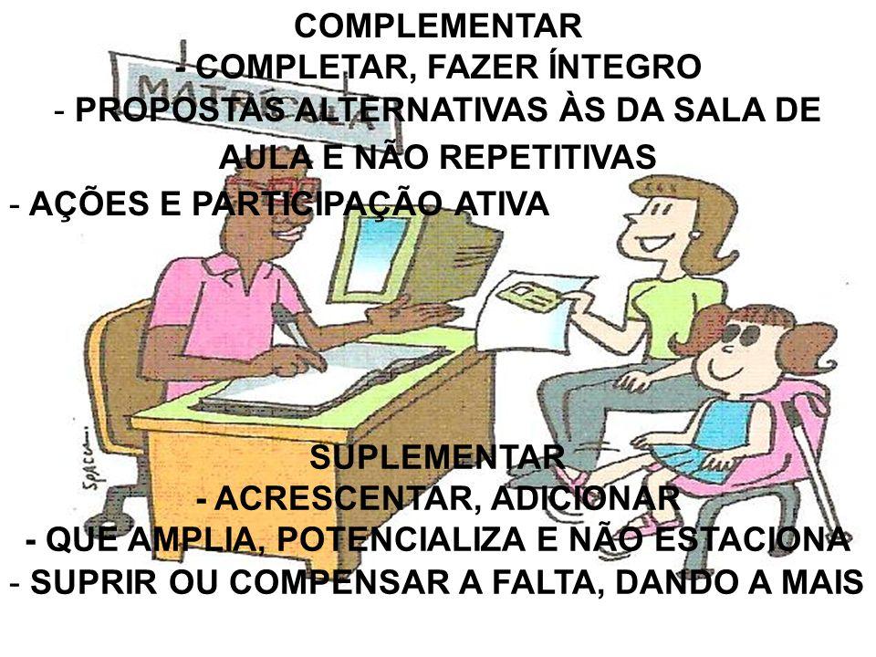 COMPLEMENTAR - COMPLETAR, FAZER ÍNTEGRO - PROPOSTAS ALTERNATIVAS ÀS DA SALA DE AULA E NÃO REPETITIVAS - AÇÕES E PARTICIPAÇÃO ATIVA SUPLEMENTAR - ACRES