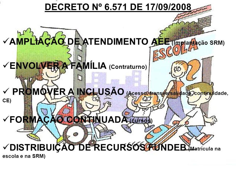DECRETO Nº 6.571 DE 17/09/2008 AMPLIAÇÃO DE ATENDIMENTO AEE (Implantação SRM) ENVOLVER A FAMÍLIA (Contraturno) PROMOVER A INCLUSÃO (Acesso, transversa
