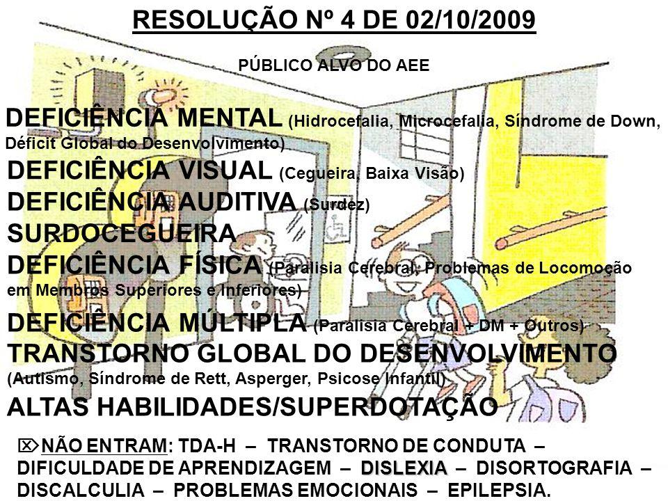 RESOLUÇÃO Nº 4 DE 02/10/2009 PÚBLICO ALVO DO AEE DISLEXIA NÃO ENTRAM: TDA-H – TRANSTORNO DE CONDUTA – DIFICULDADE DE APRENDIZAGEM – DISLEXIA – DISORTO
