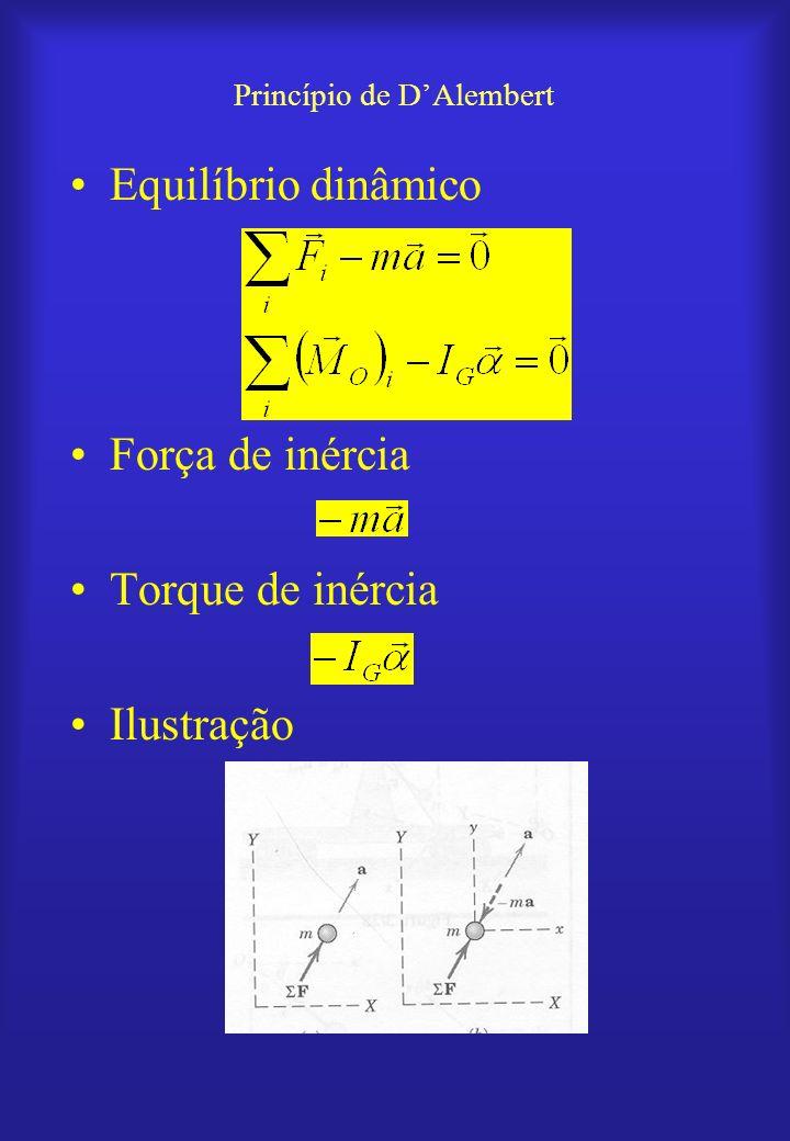 Princípio de DAlembert Equilíbrio dinâmico Força de inércia Torque de inércia Ilustração