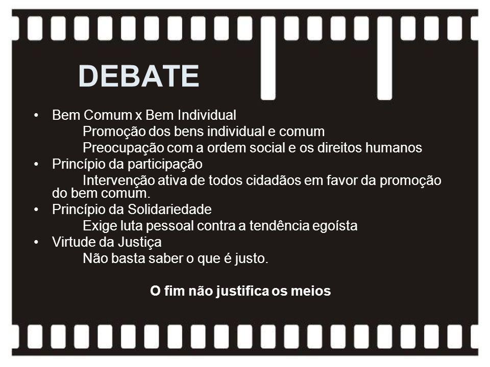 Bem Comum x Bem Individual Promoção dos bens individual e comum Preocupação com a ordem social e os direitos humanos Princípio da participação Interve