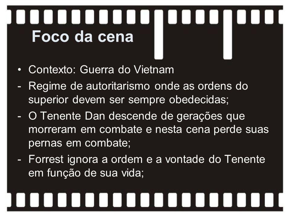 Foco da cena Contexto: Guerra do Vietnam -Regime de autoritarismo onde as ordens do superior devem ser sempre obedecidas; -O Tenente Dan descende de g