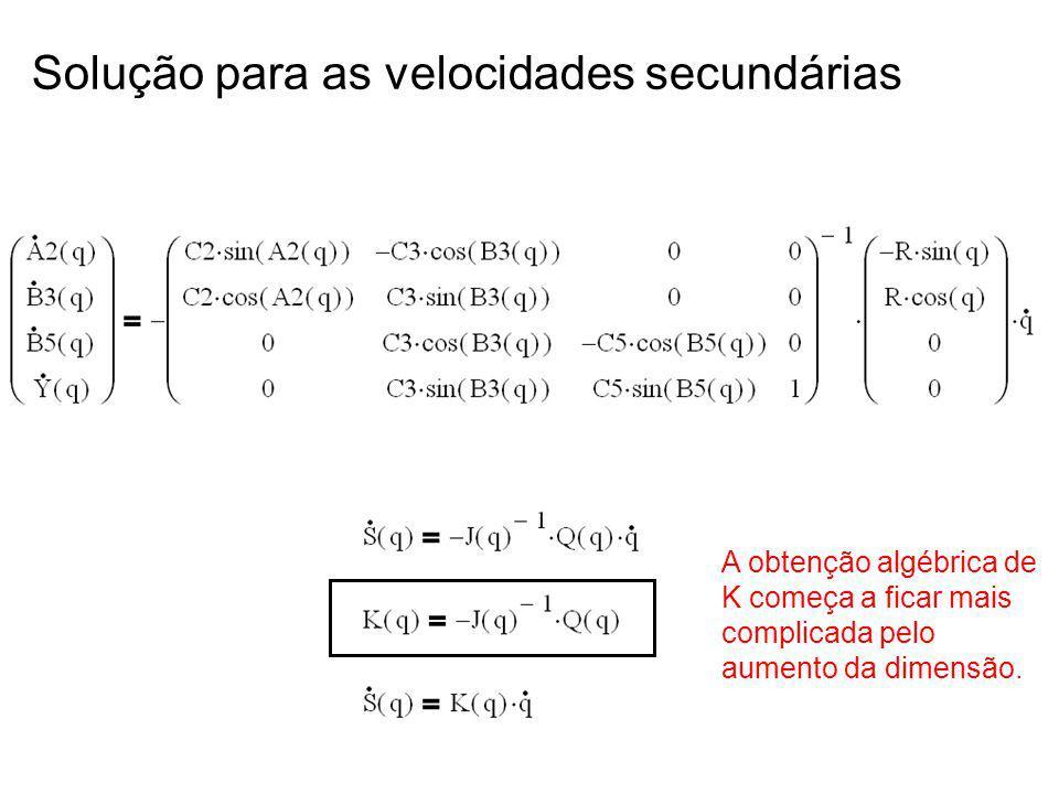 Solução para as velocidades secundárias A obtenção algébrica de K começa a ficar mais complicada pelo aumento da dimensão.
