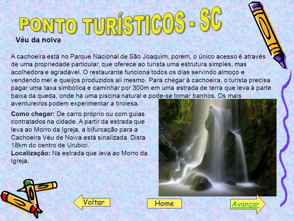 Véu da noiva A cachoeira está no Parque Nacional de São Joaquim, porém, o único acesso é através de uma propriedade particular, que oferece ao turista