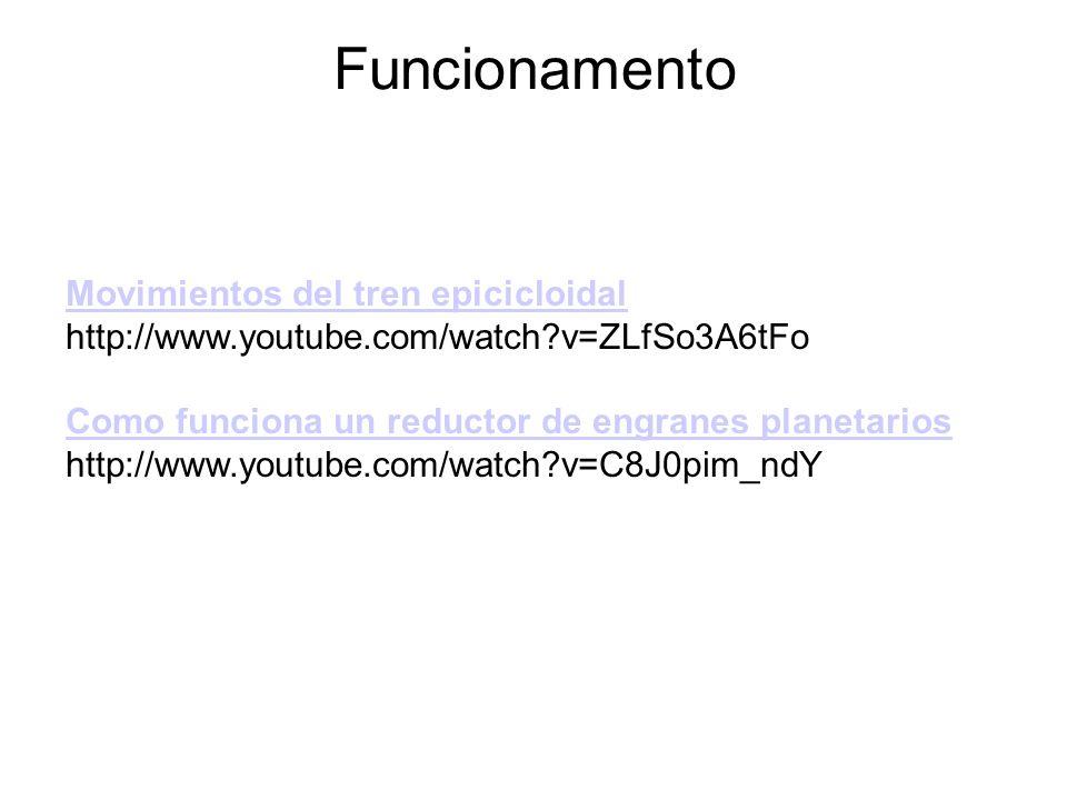 Funcionamento Movimientos del tren epicicloidal http://www.youtube.com/watch?v=ZLfSo3A6tFo Como funciona un reductor de engranes planetarios http://ww