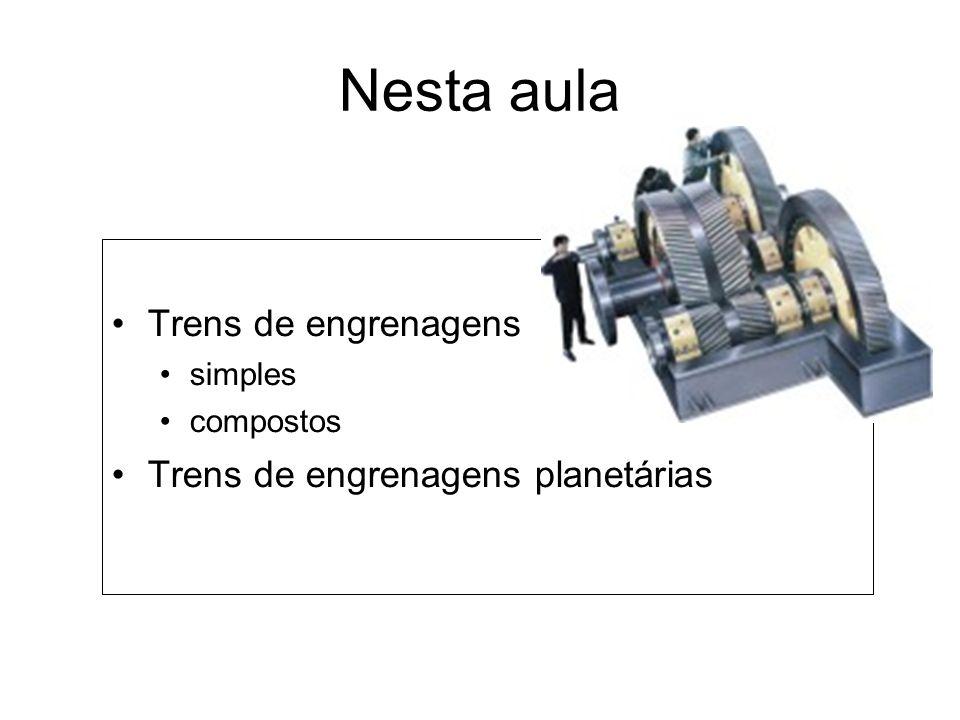 Nesta aula Trens de engrenagens simples compostos Trens de engrenagens planetárias