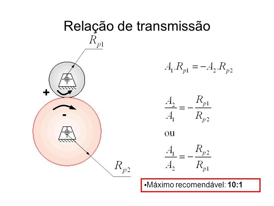 Relação de transmissão + - Máximo recomendável: 10:1