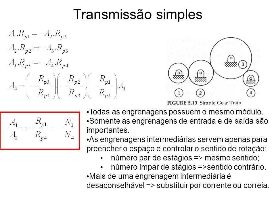 Transmissão simples Todas as engrenagens possuem o mesmo módulo. Somente as engrenagens de entrada e de saída são importantes. As engrenagens intermed