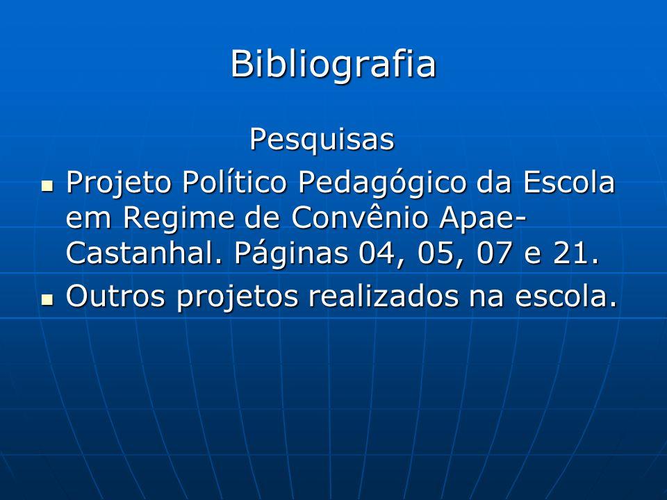 Bibliografia Pesquisas Pesquisas Projeto Político Pedagógico da Escola em Regime de Convênio Apae- Castanhal.