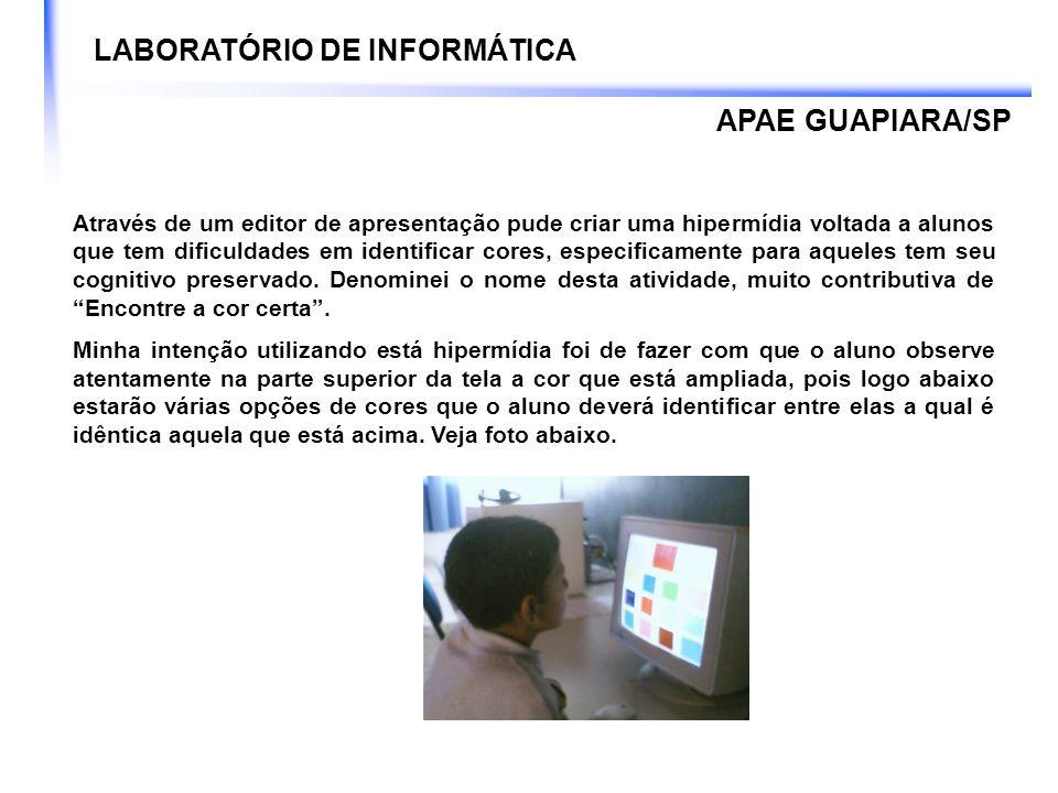 LABORATÓRIO DE INFORMÁTICA Em termos de Tecnologia Assistiva, por enquanto o laboratório não tem equipamentos (hardwares) a disposição de pessoas PNEEs.