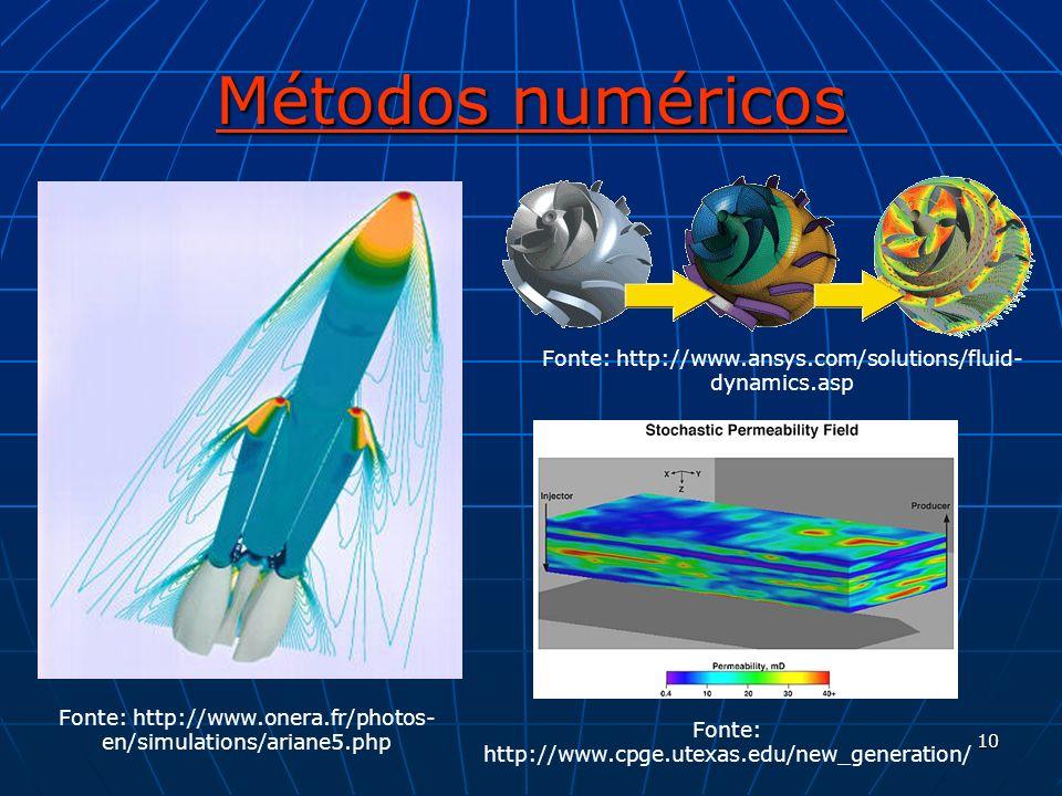 10 Métodos numéricos Fonte: http://www.onera.fr/photos- en/simulations/ariane5.php Fonte: http://www.ansys.com/solutions/fluid- dynamics.asp Fonte: ht